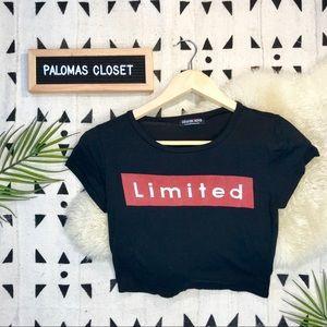 "Fashion nova ""limited"" crop tee small"